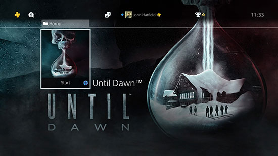 Until Dawn Add-ons screen