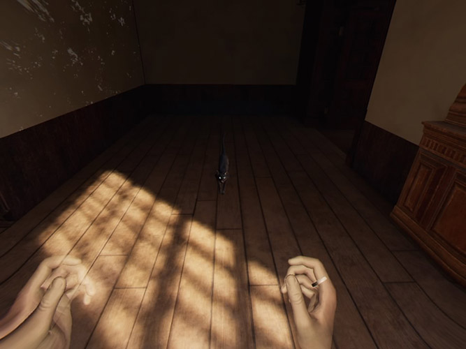 View of hands above wooden floor