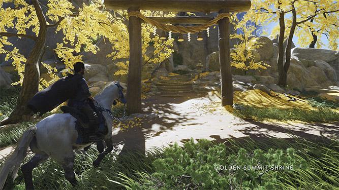 Arriving at a shrine on horseback