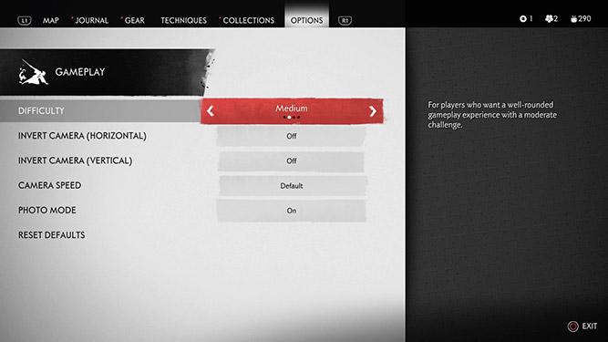 Gameplay options in UI