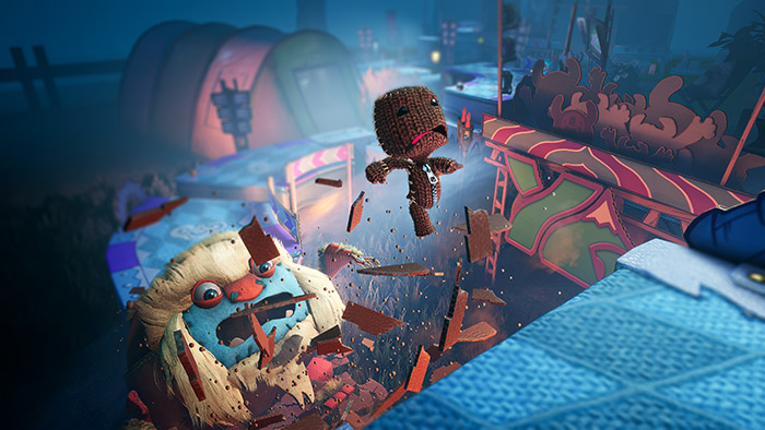 Sackboy leaping from a shattered bridge