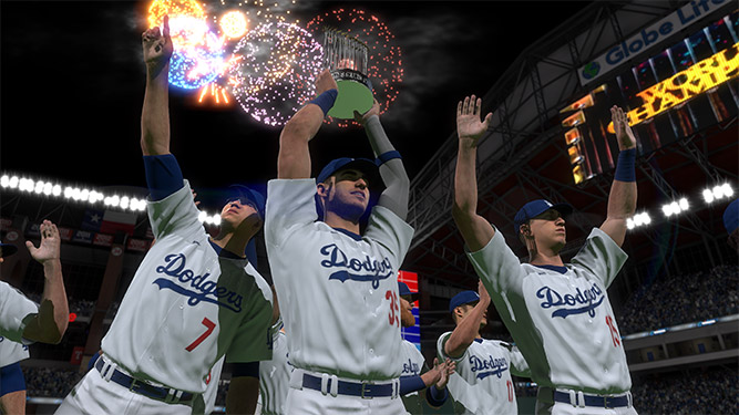 Dodgers holding the trophy